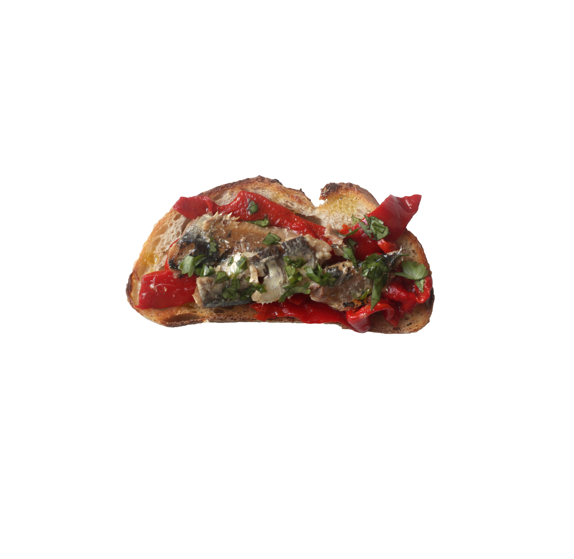 Roasted Pepper, Cilantro, and Sardine Toast