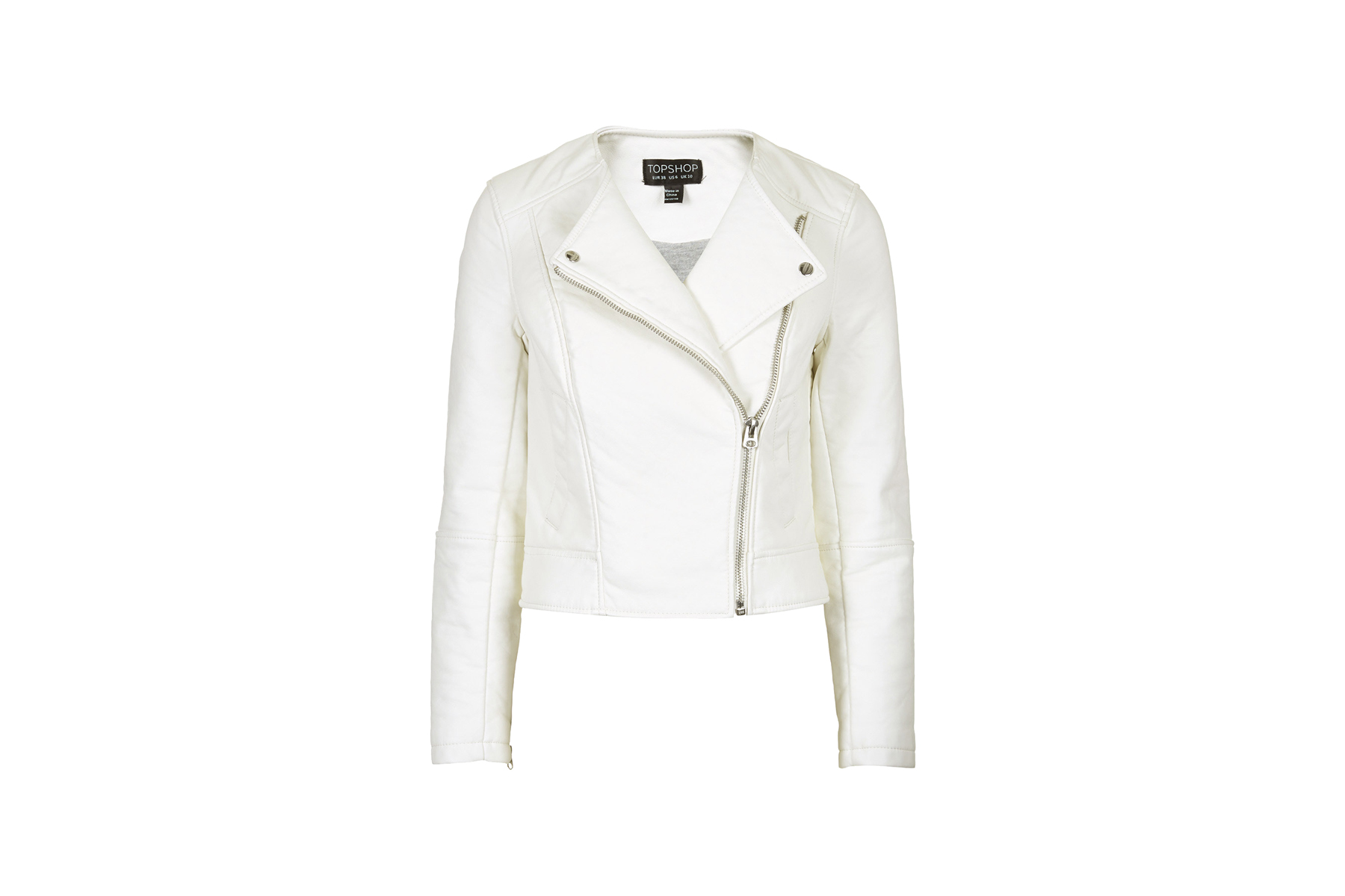 Topshop Faux Leather Collarless Biker Jacket