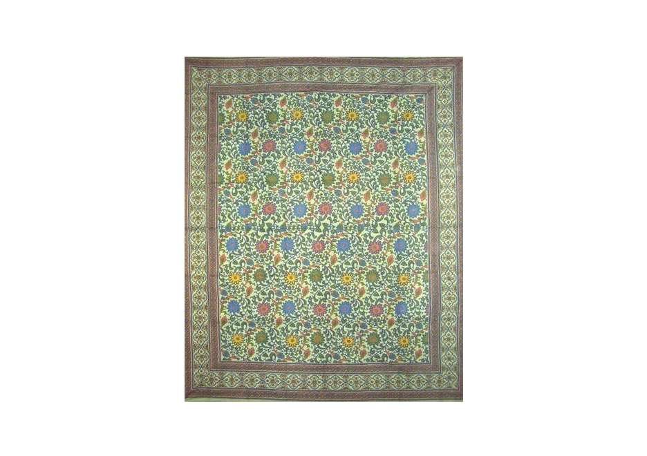 Twin-size Sunflower Tapestry Coverlet in Sea Green