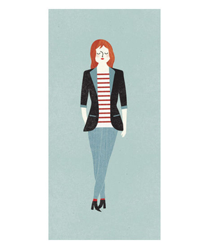 Illustration of a woman wearing a structured blazer