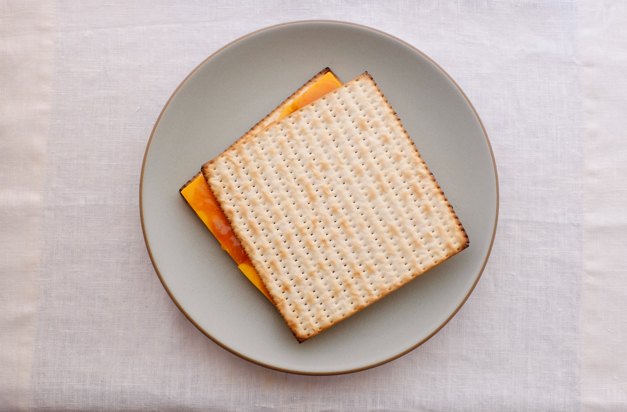 Cheddar and Chutney on Matzo