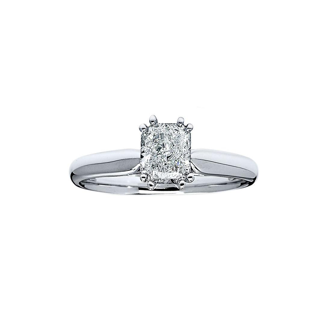 Jared Diamond Solitaire Ring 1 Carat Radiant-Cut 14K White Gold