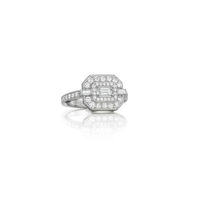 Penny Preville New Deco 18K White Gold & Diamond Deco Ring