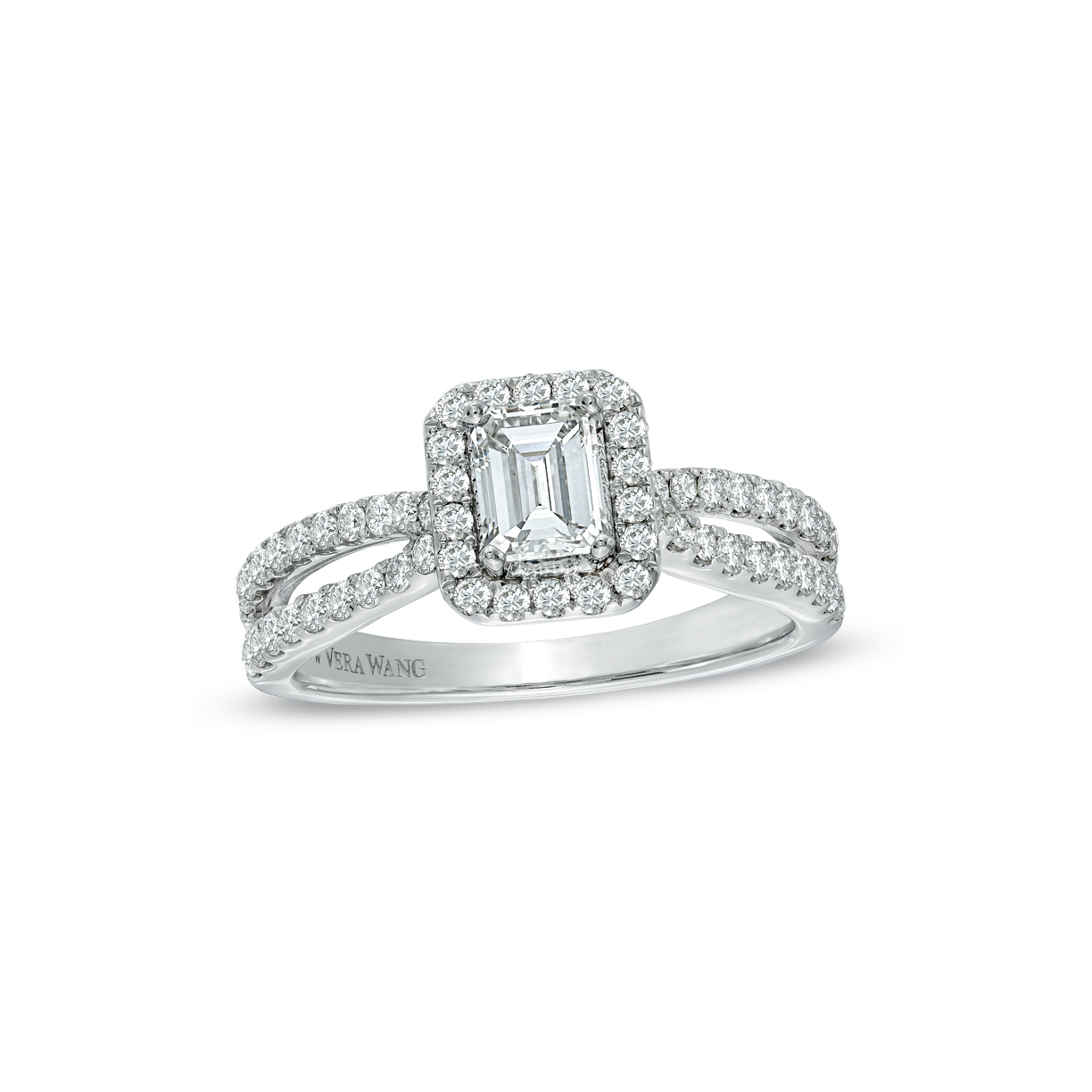 Vera Wang Love Collection 1 T.C.W. Emerald-Cut Diamond Split Shank Ring in 14K White Gold