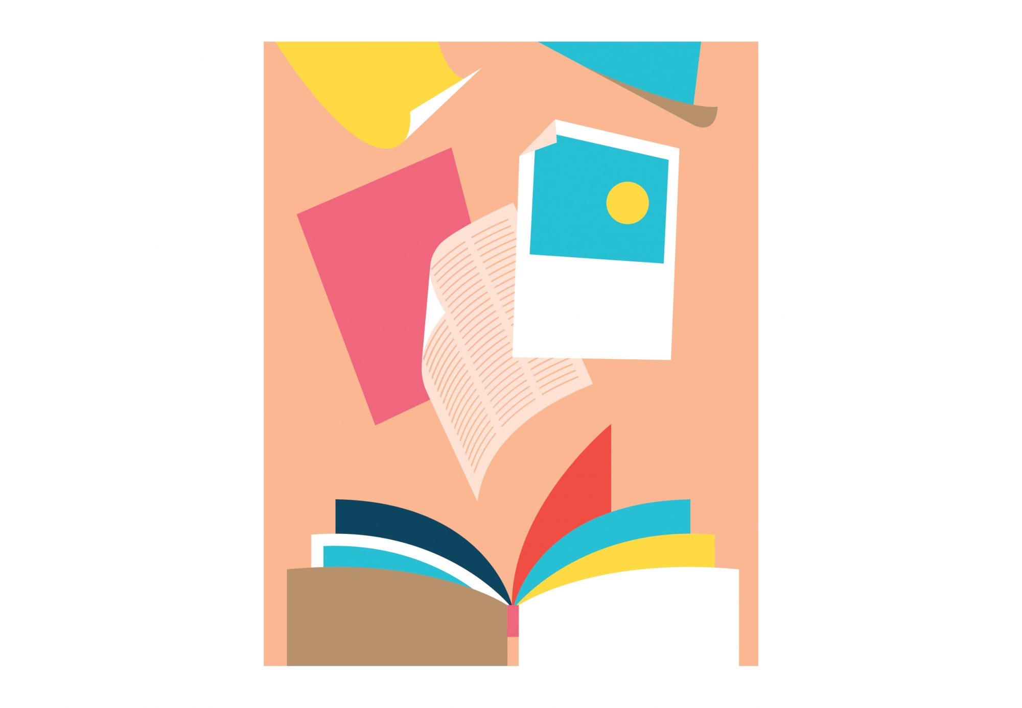 Illustration: pages flying out of a magazine