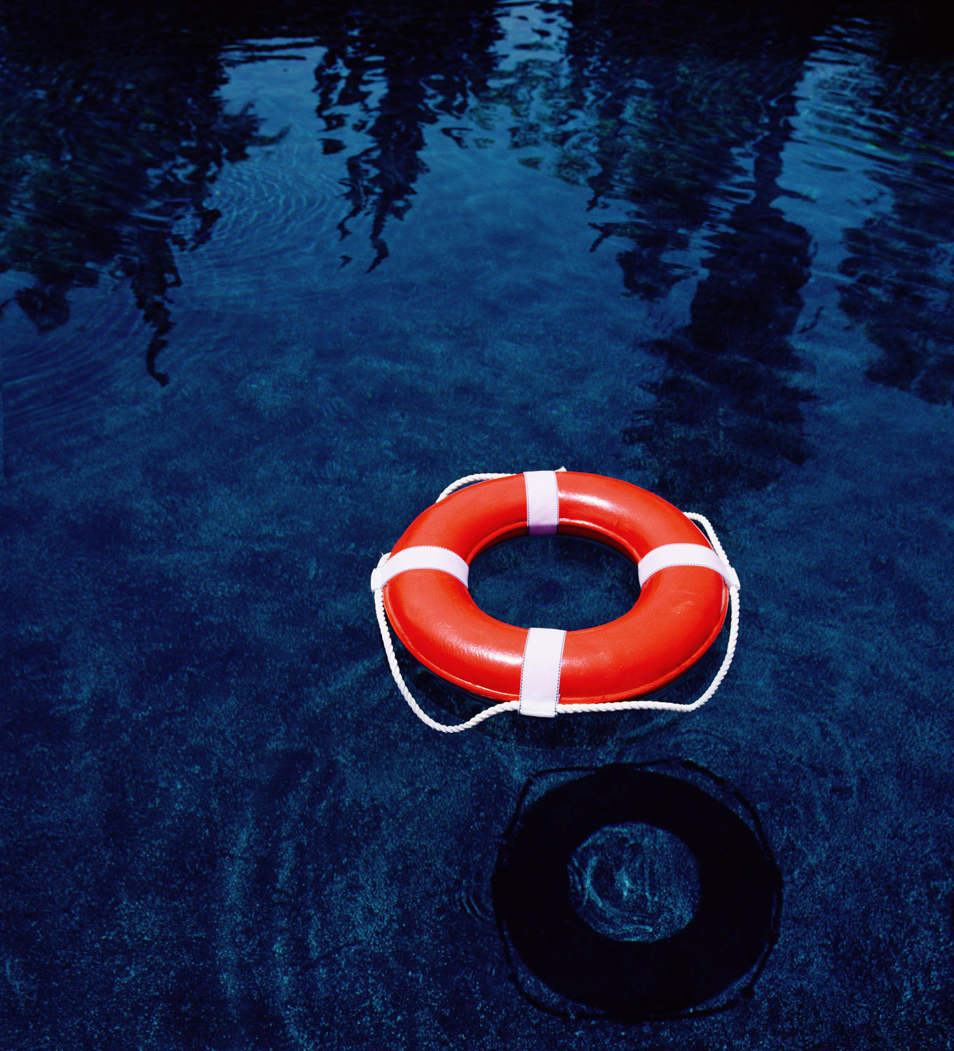 Life preserver in the water