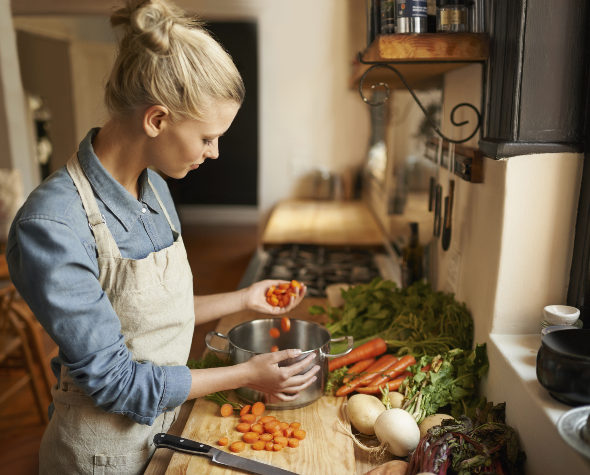 Woman prepping vegetables
