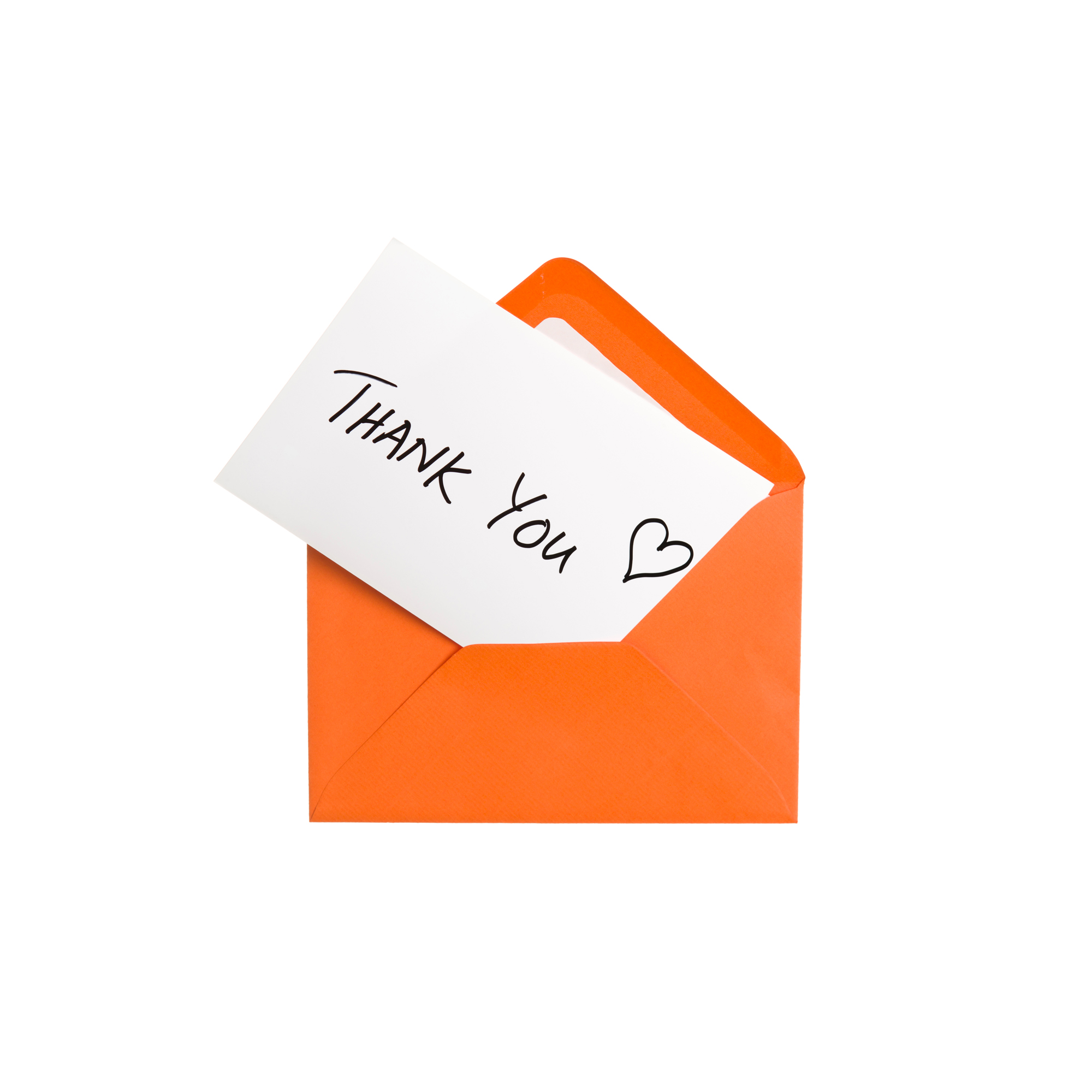 Thank you note in orange envelope