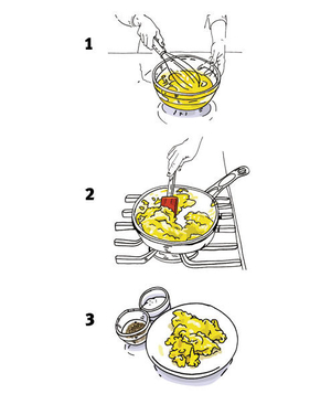 Illustration of a person cooking scrambled eggs
