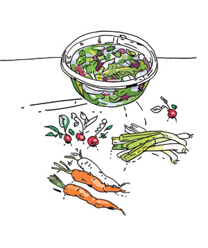 Illustration of greens and other vegetables inside and outside of a glass bowl with water