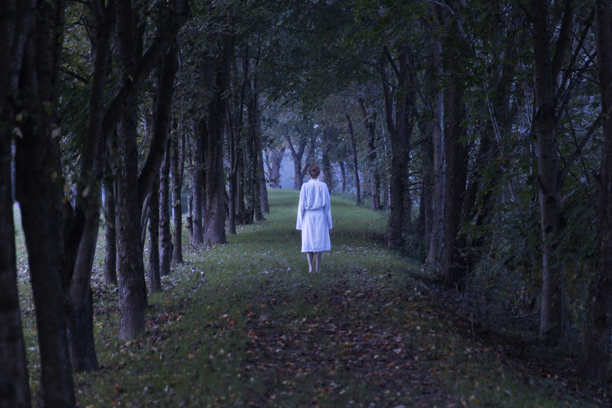 Woman walking through dark trees