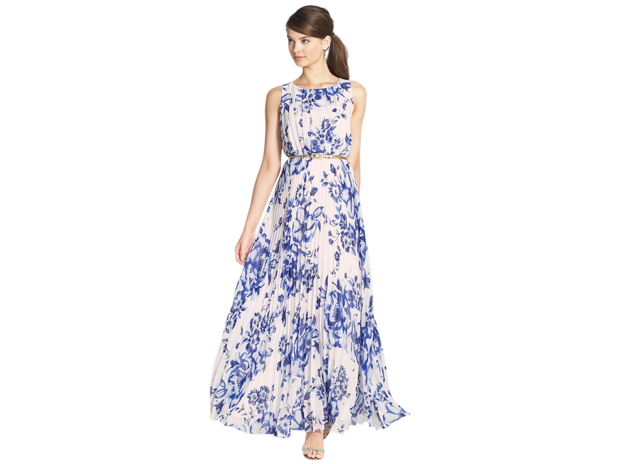 Eliza J Print Pleat Chiffon Maxi Dress