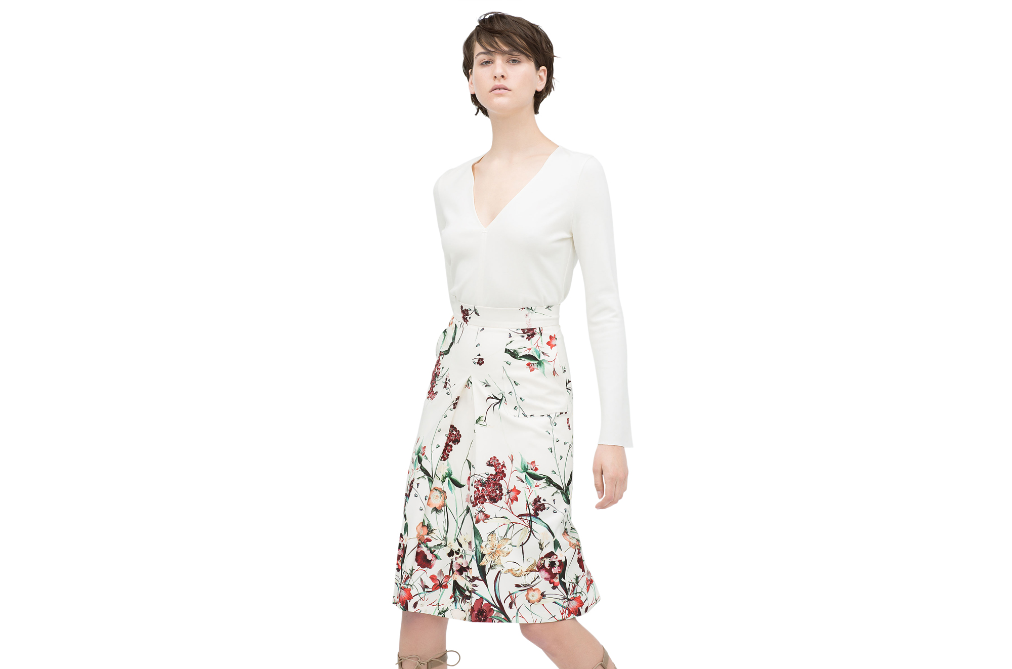 Zara Front Pleat Printed Skirt