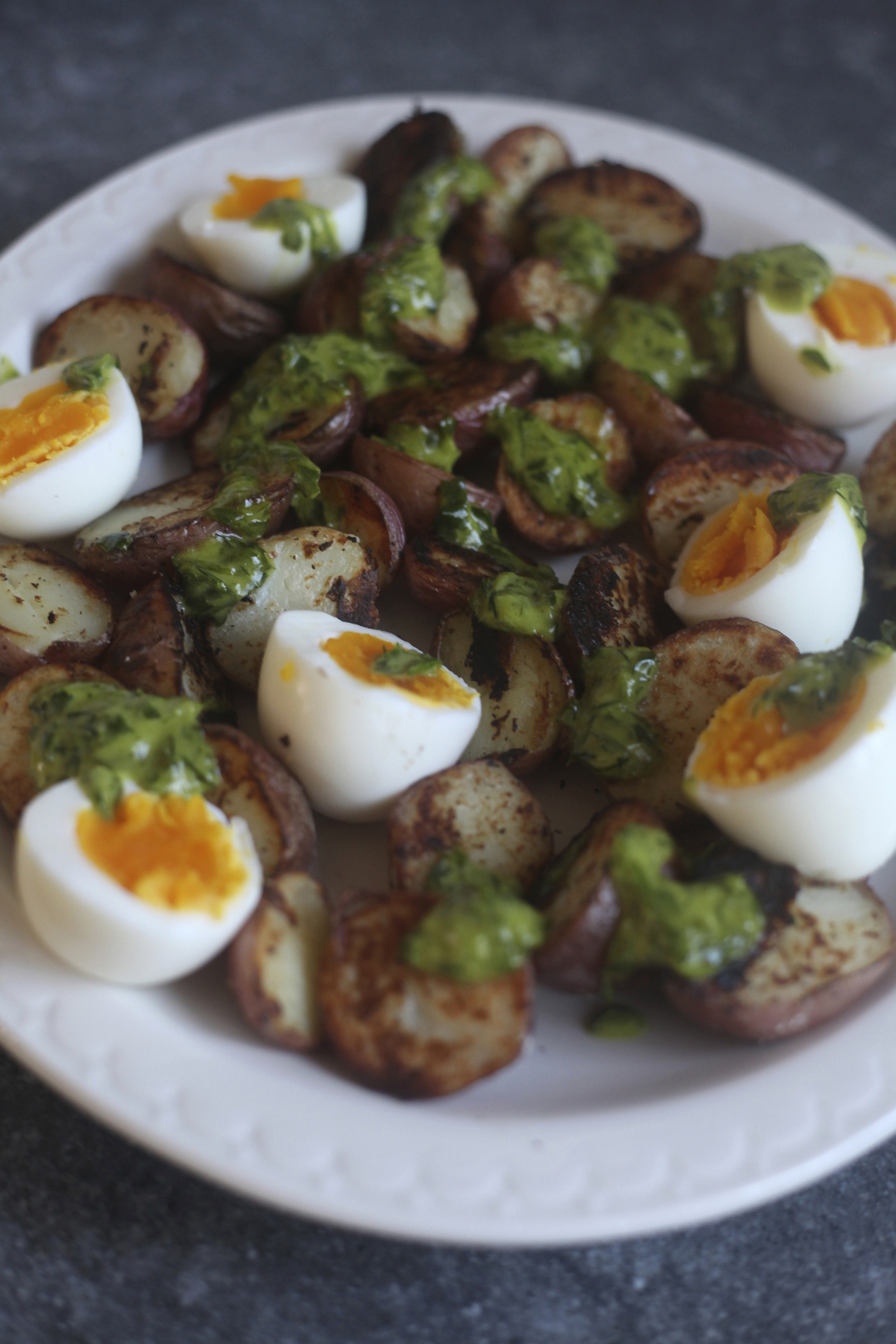 Crispy Potatoes and Soft Cooked Eggs with Herb Dressing