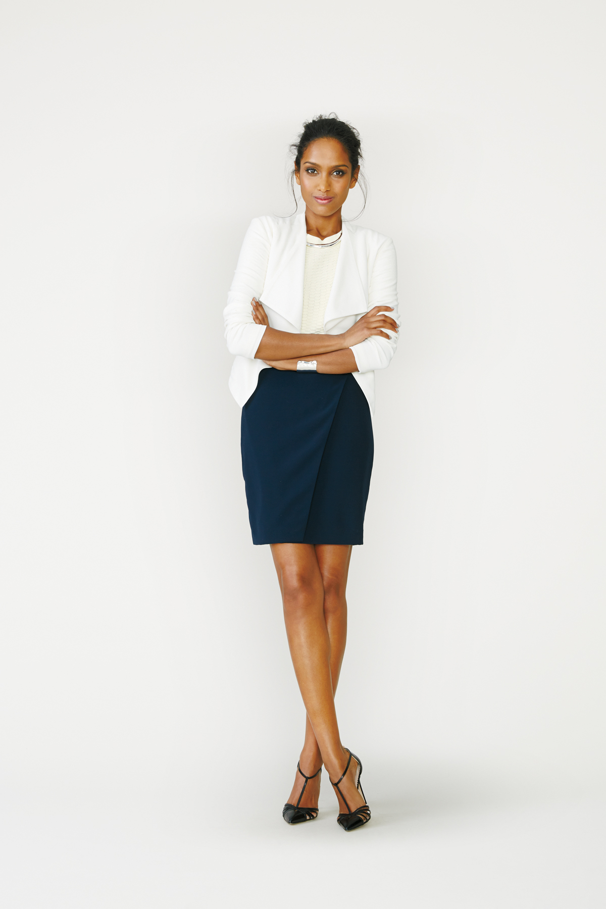 Blazer + Sweater + Pencil Skirt + Heels