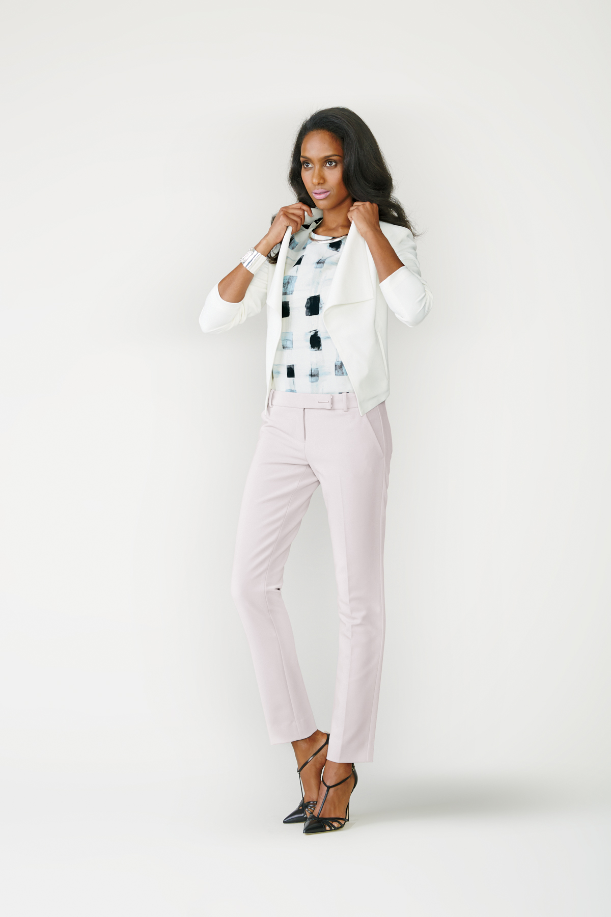Blazer + Printed Top + Slim Pants + Heels