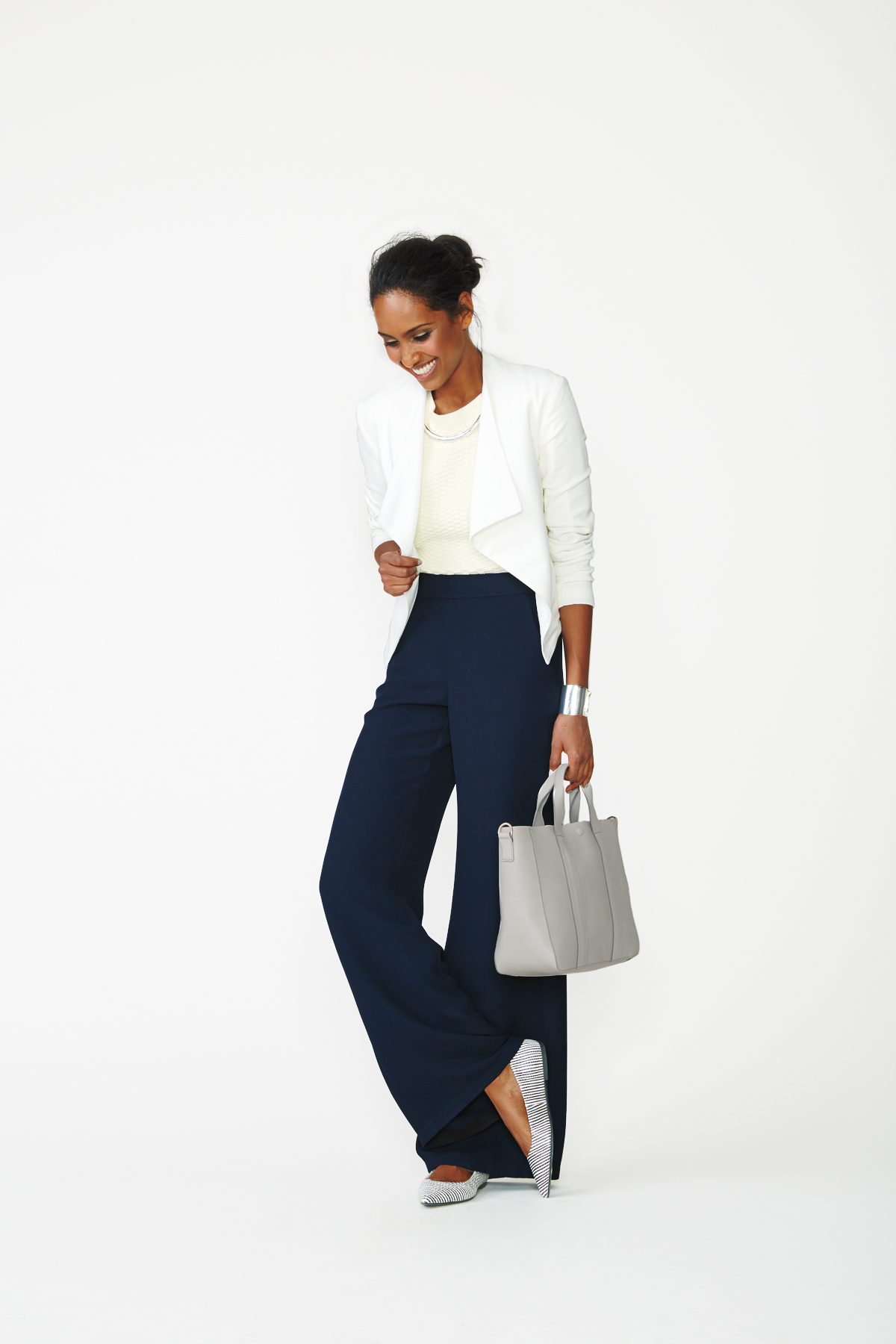 Blazer + Sweater + Wide-Leg Pants + Flats