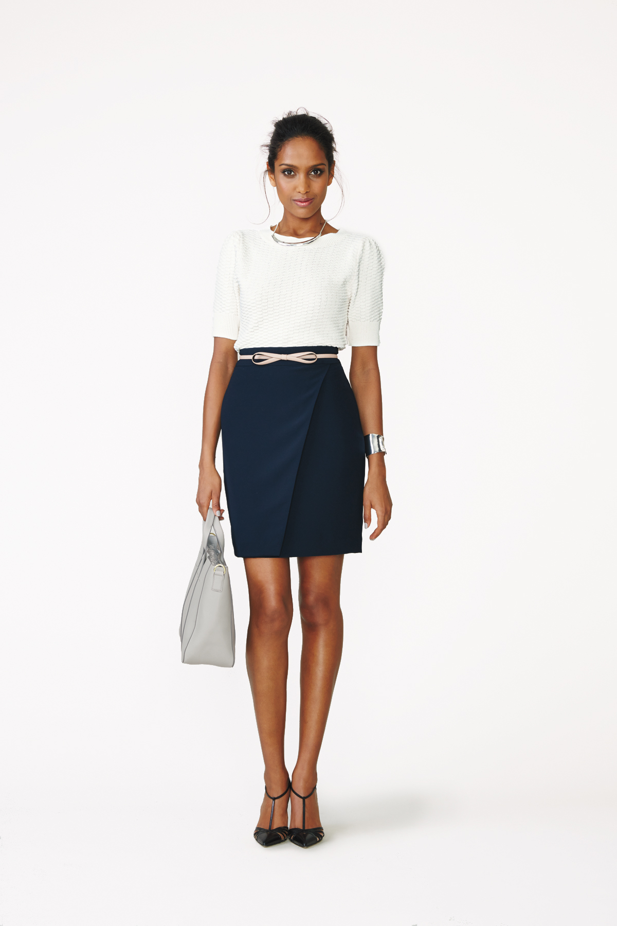 Sweater + Belt + Pencil Skirt + Heels
