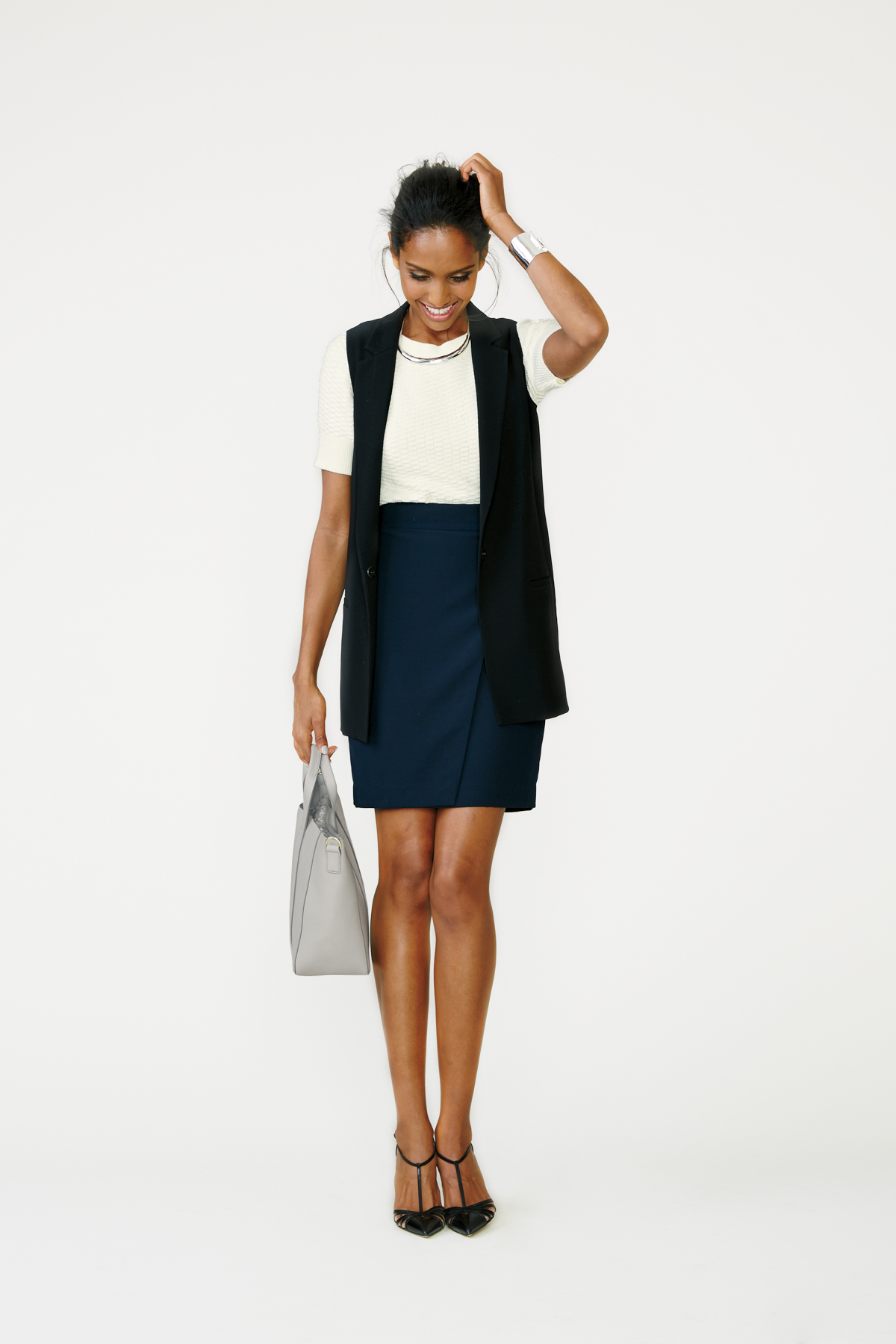 Vest + Sweater + Pencil Skirt + Heels