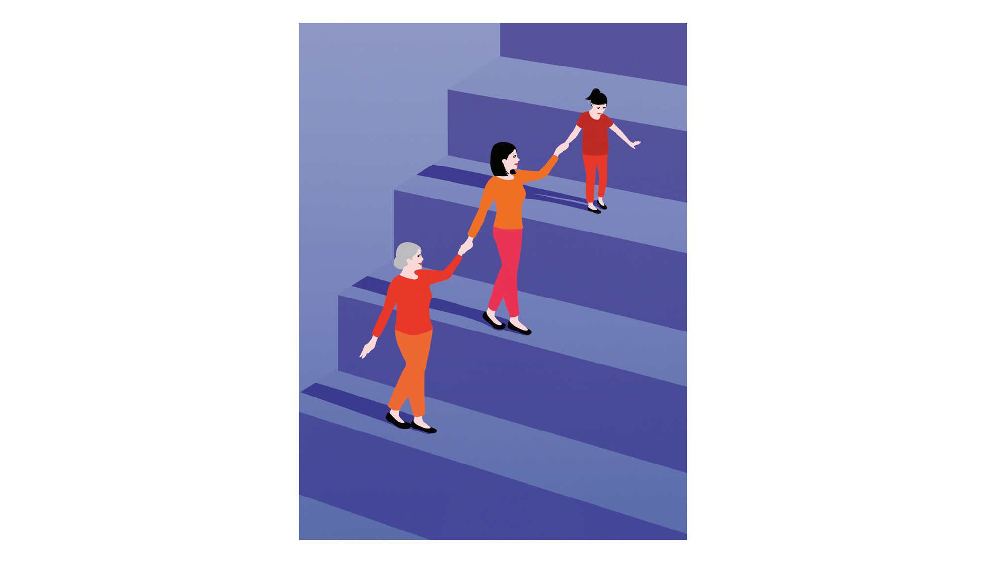 Illustration: 3 generations of women on stairs