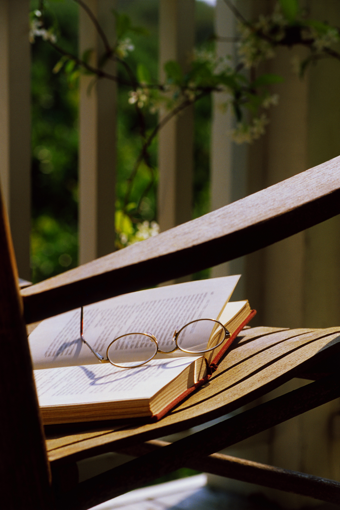 Porch chair with book and glasses
