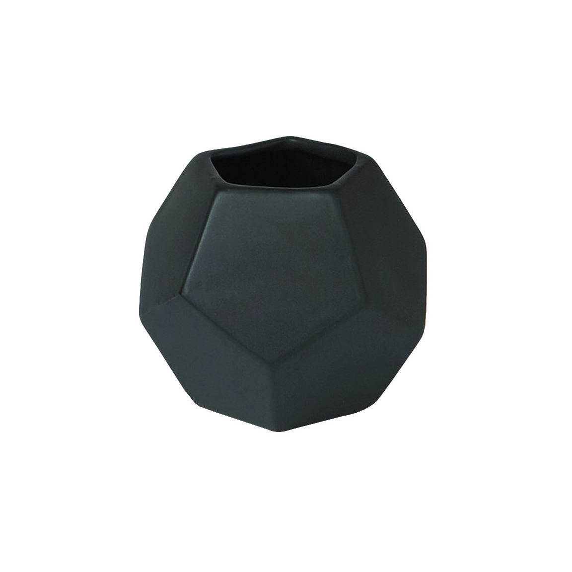 Faceted Black Vase