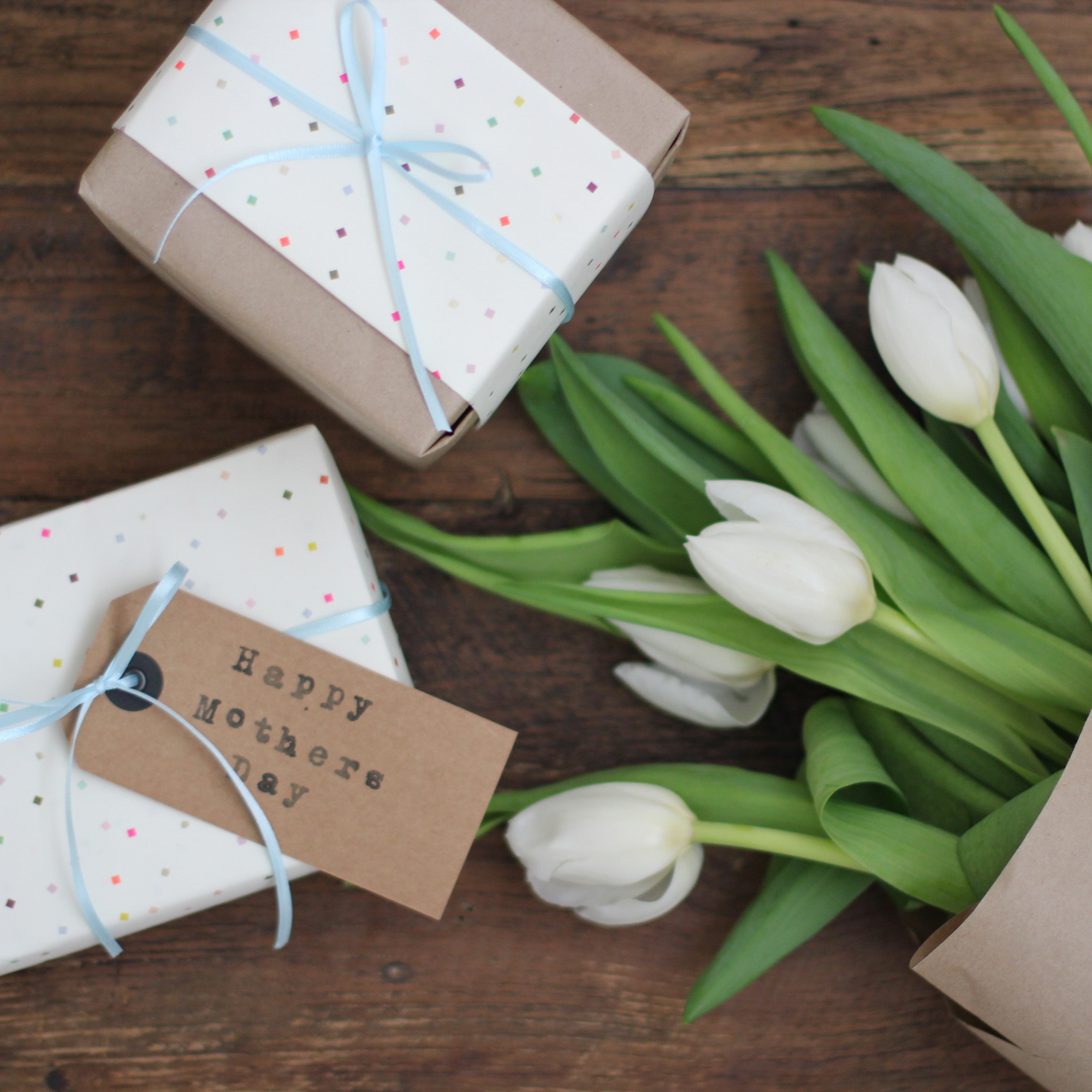 Mother's Day gifts and tulips