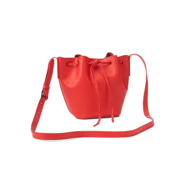 Gap Leather Drawstring Bucket Bag Red