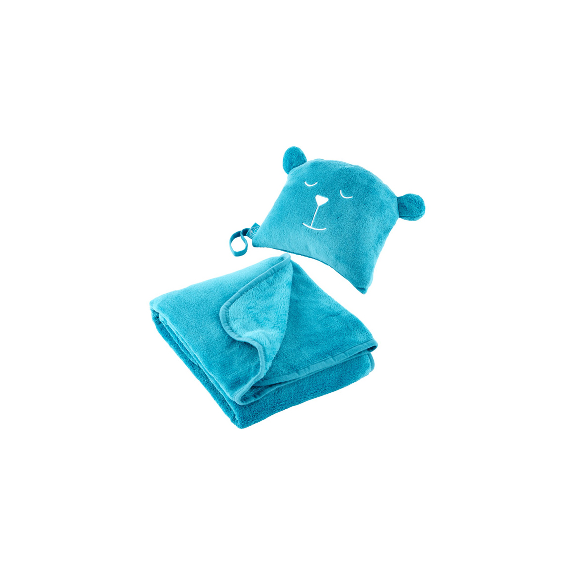Teal Undercover Bear Travel Blanket and Pillow