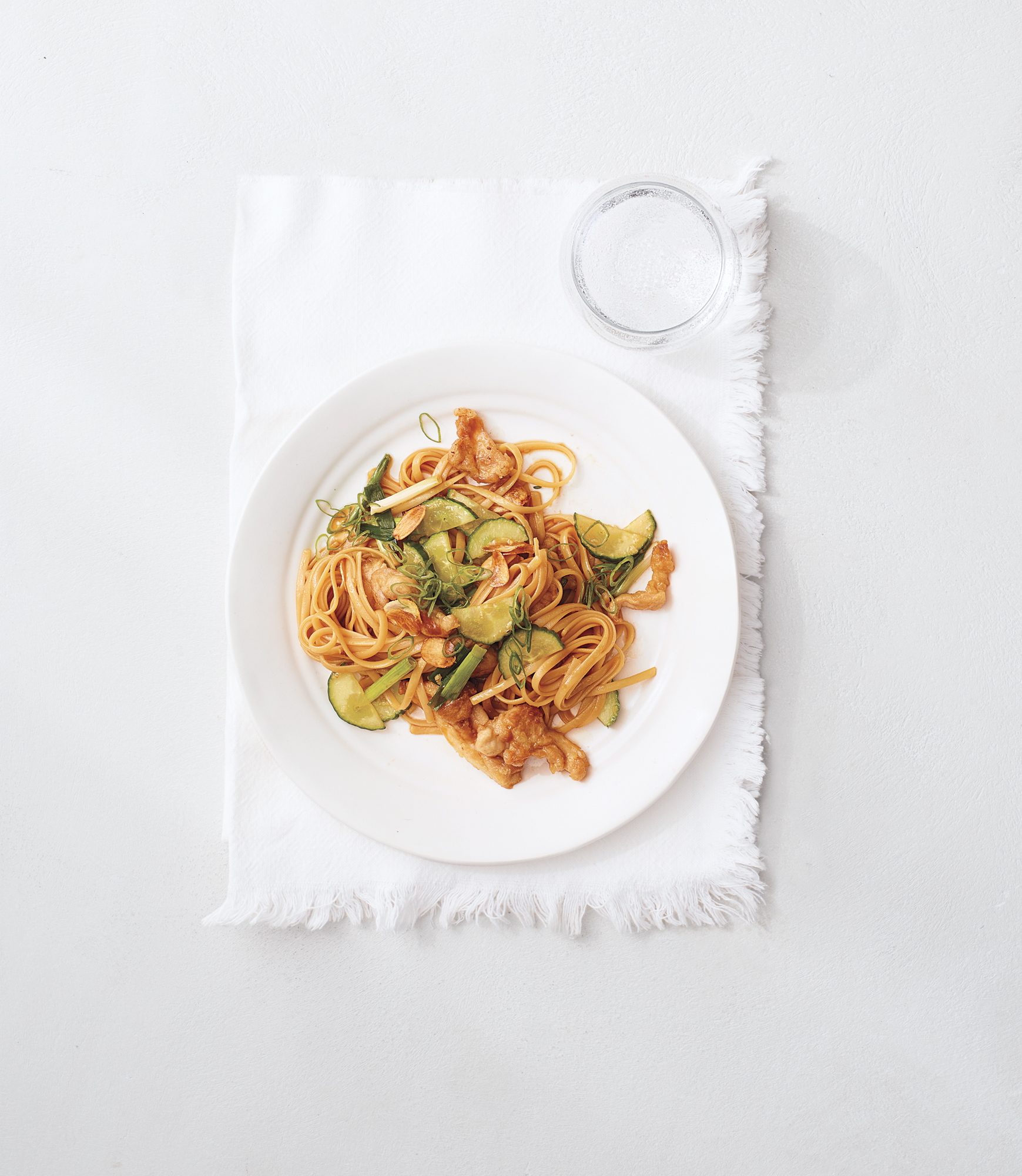 Chicken and Cucumber Stir-Fry with Noodles and Crispy Garlic