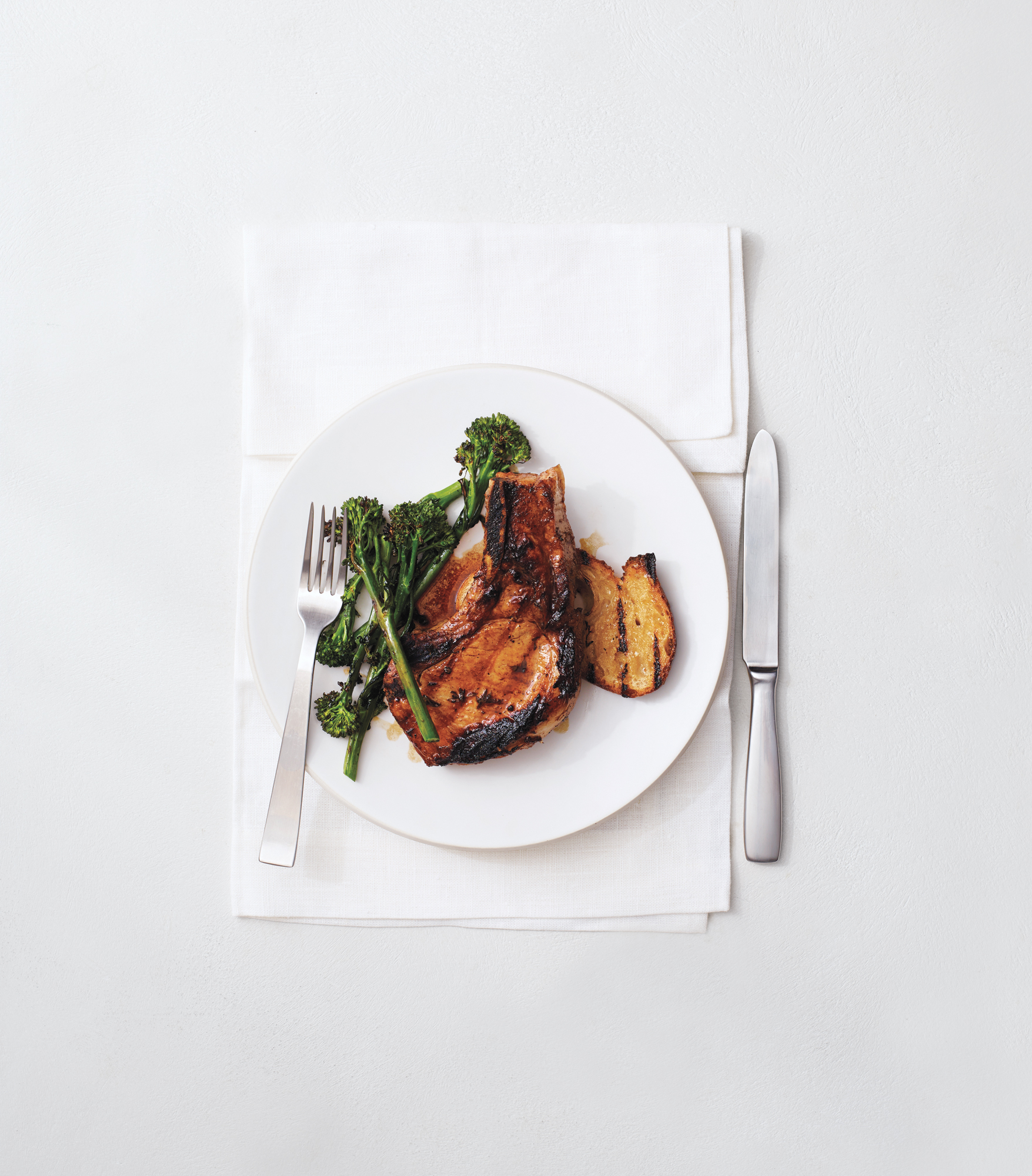 Grilled Pork Chops, Broccolini, and Sourdough Bread