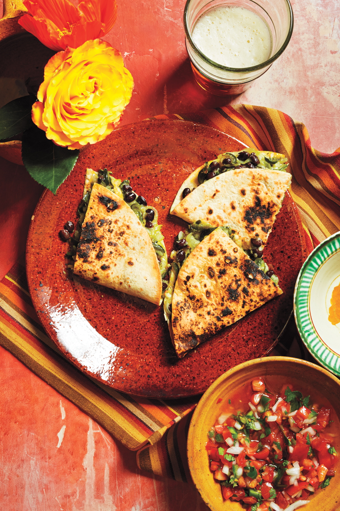 Quesadillas with Poblano Peppers and Beans