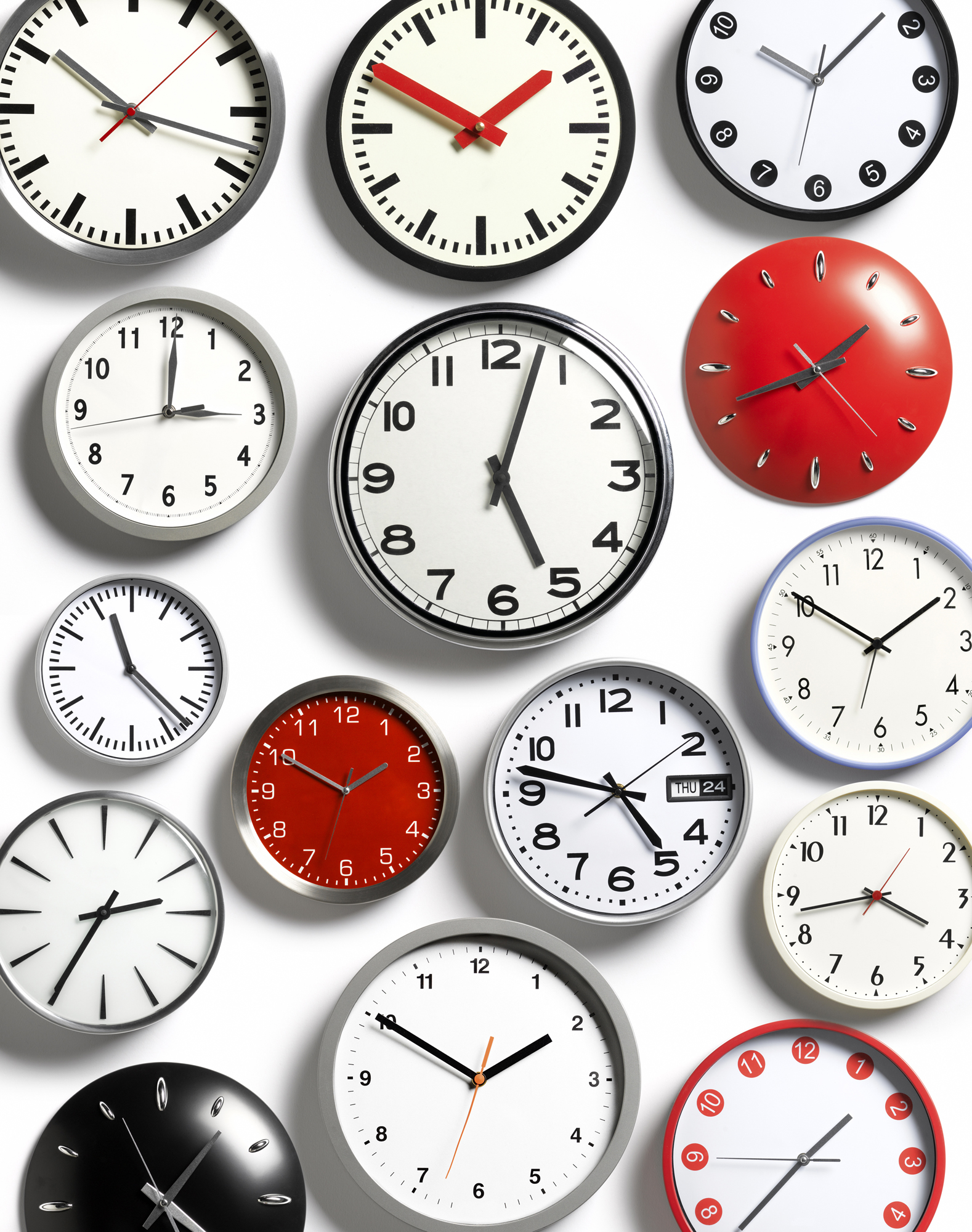 Clocks set to many different times