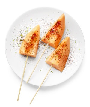 Cantaloupe Skewers With Lime Zest and Chili Powder