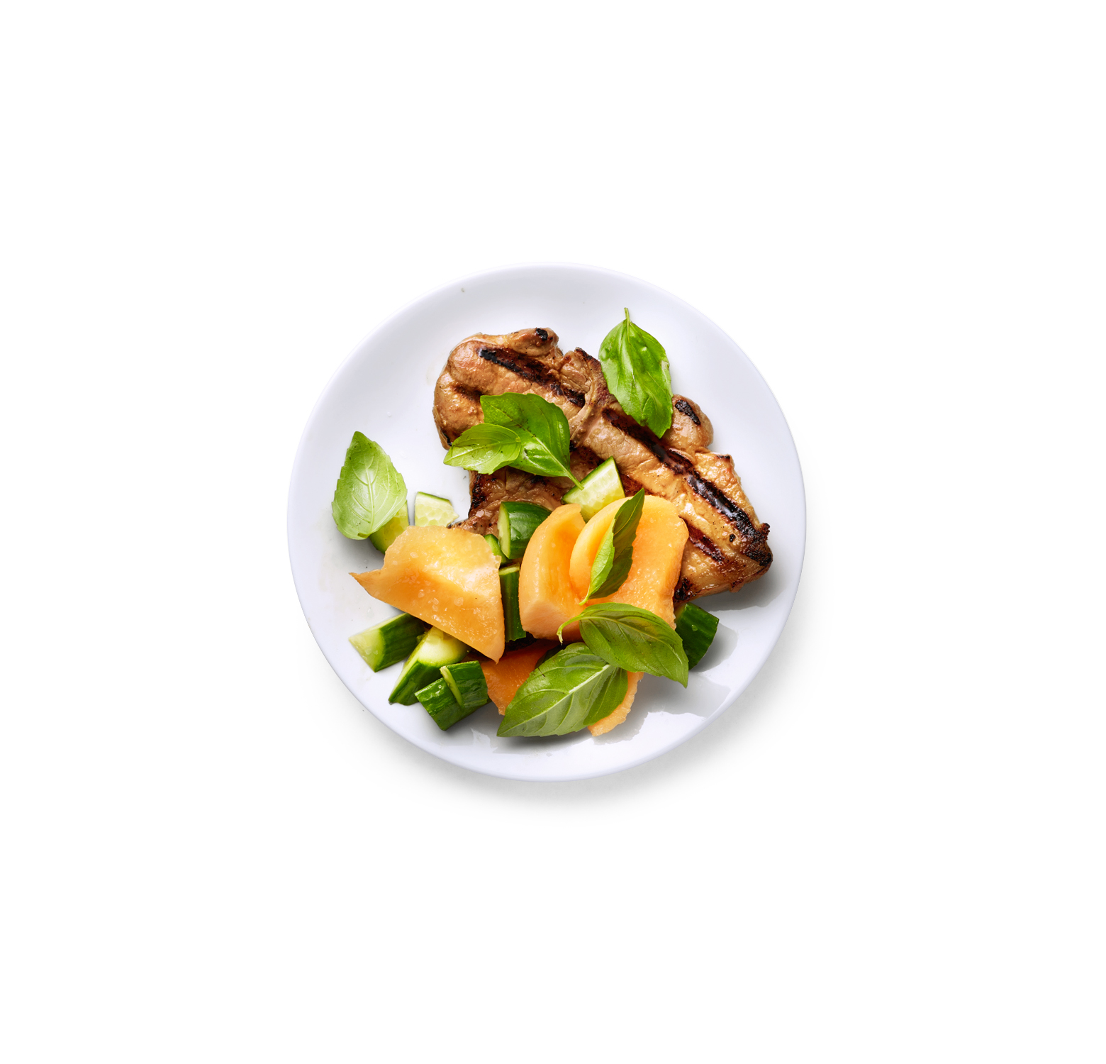 Vietnamese Pork Chops with Cantaloupe and Basil Salad