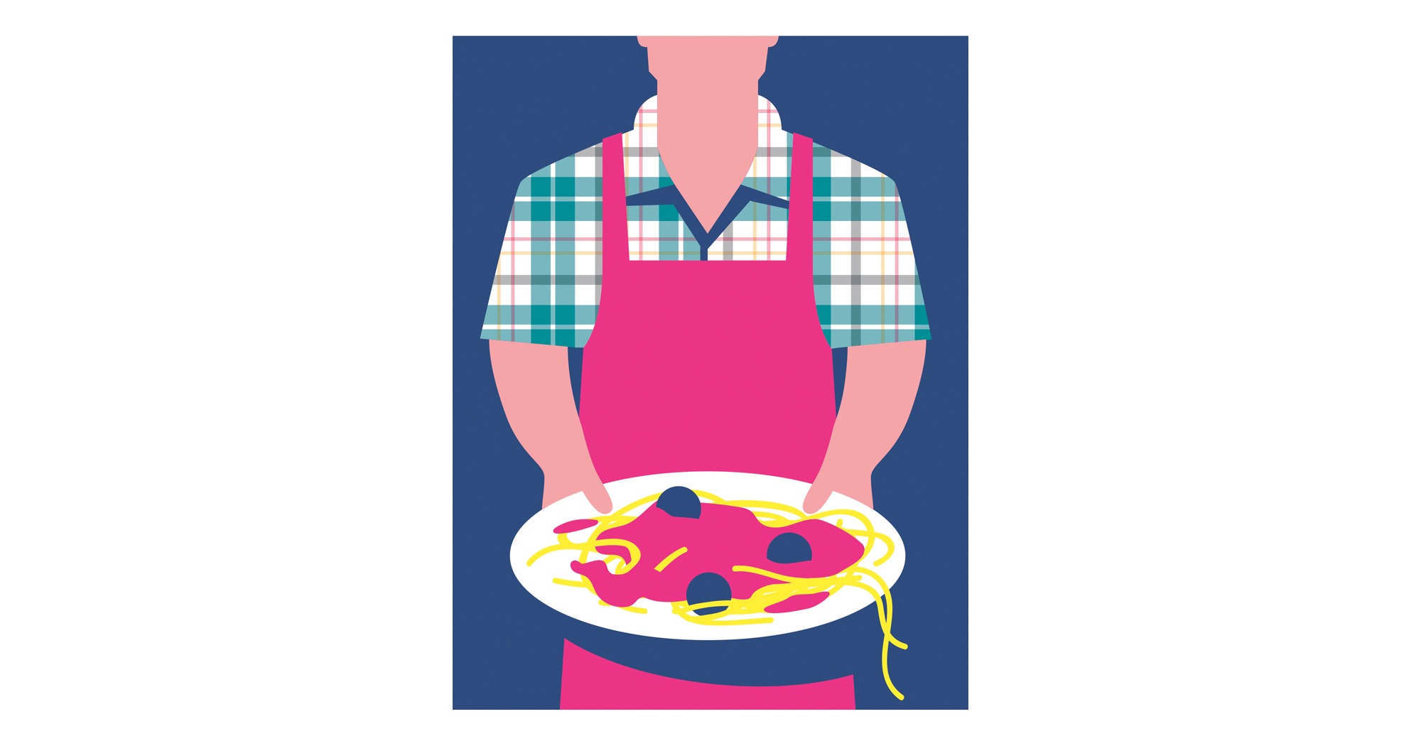 Illustration of father holding plate of spaghetti