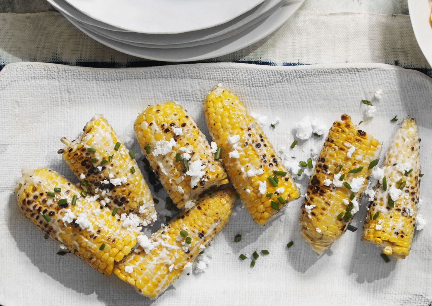 Grilled Corn on the Cob With Feta and Chives