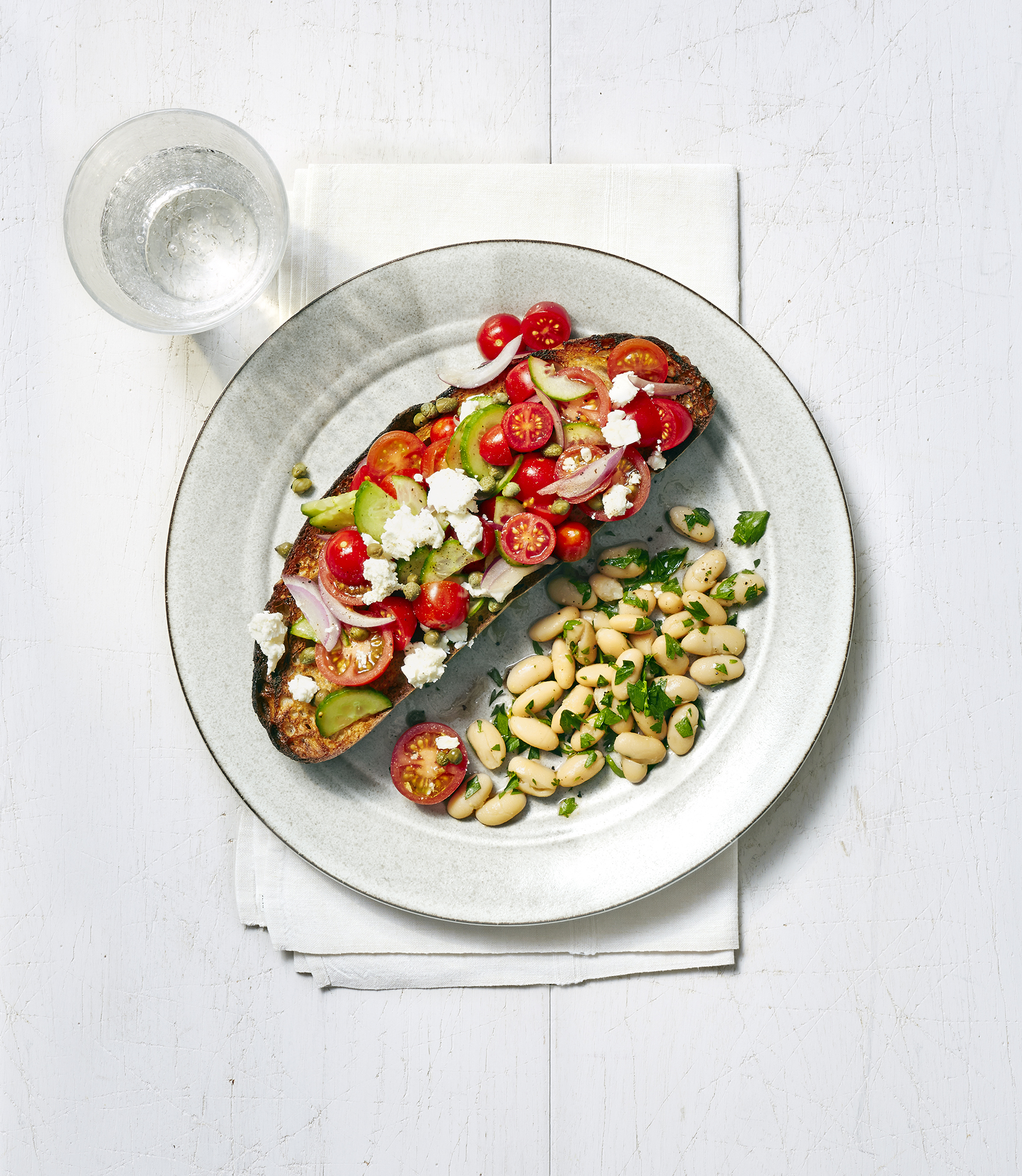 Greek Salad Tartines with White Beans