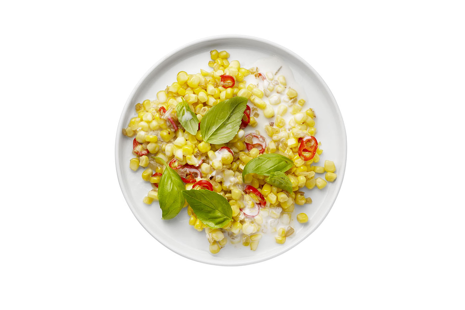 Sautéed Corn With Coconut Milk, Chili, and Basil