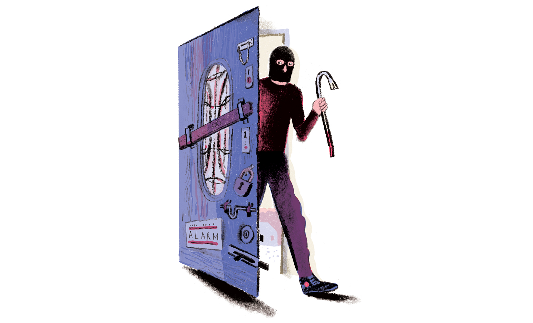 Illustration: Burglar breaking into very locked house