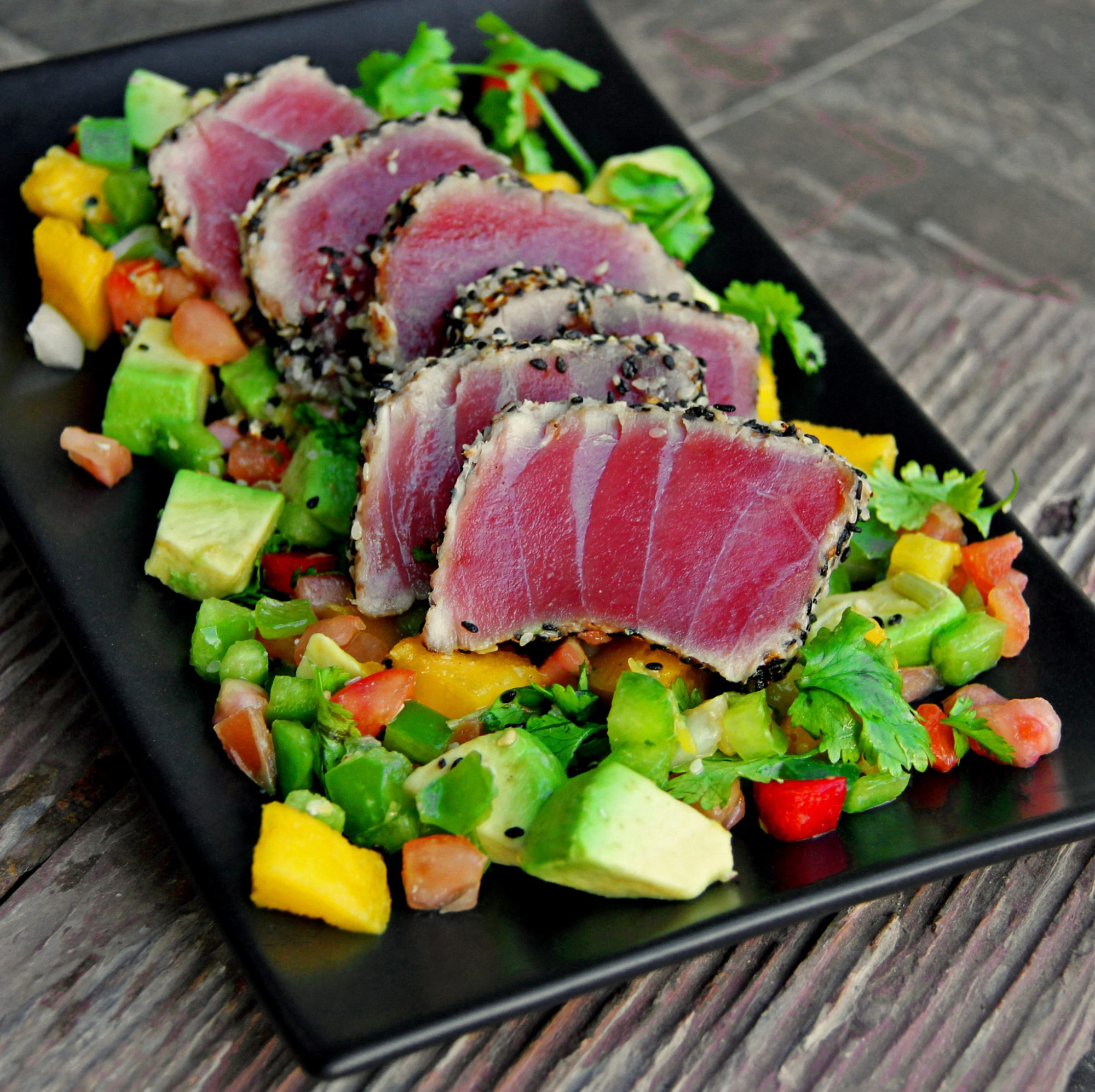 Seared Sesame Ahi Tuna with Grilled Avocado-Mango Salsa