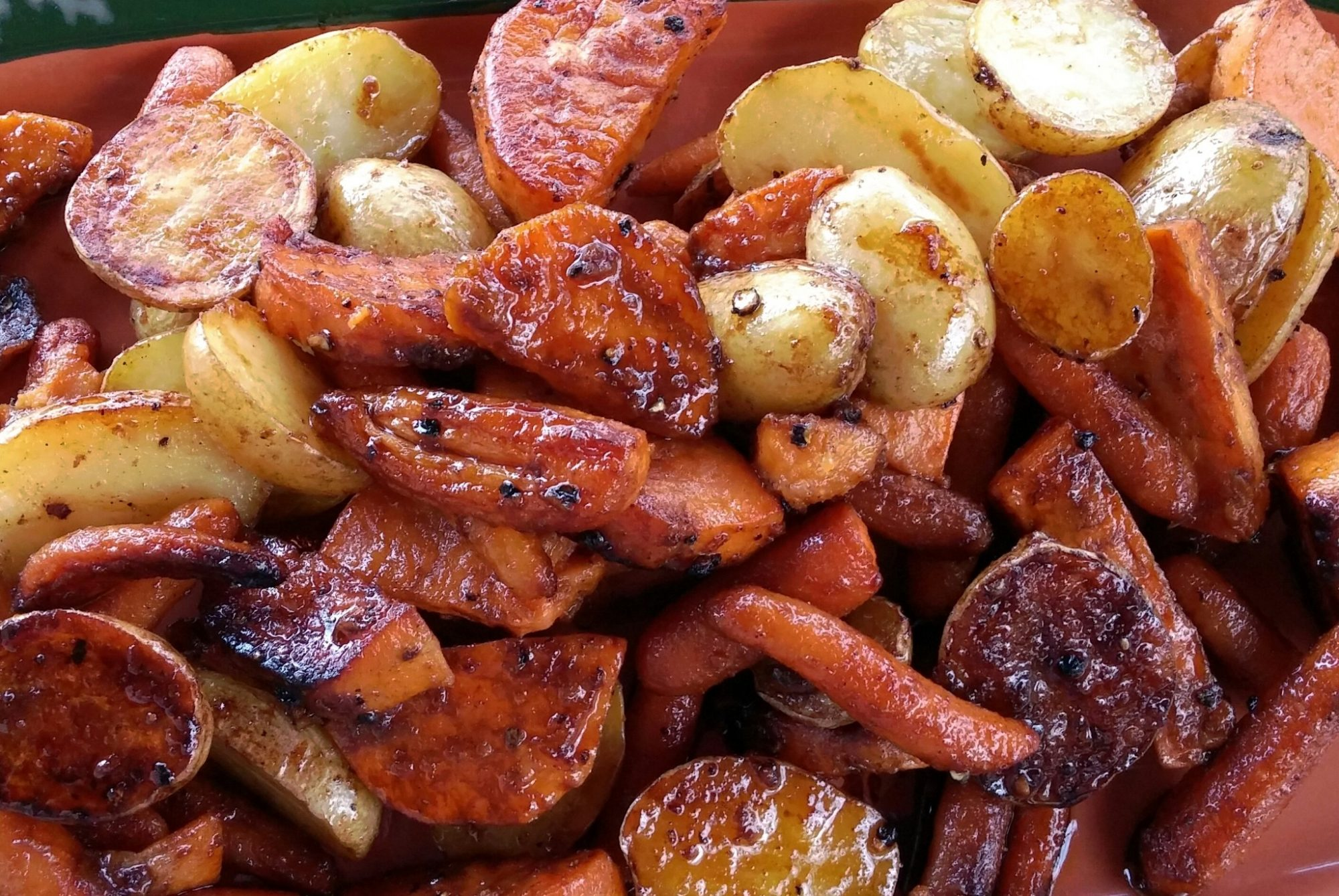 Balsamic Glazed Smoked Potatoes and Carrots