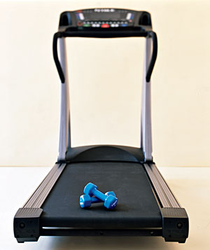 Weights and a treadmill