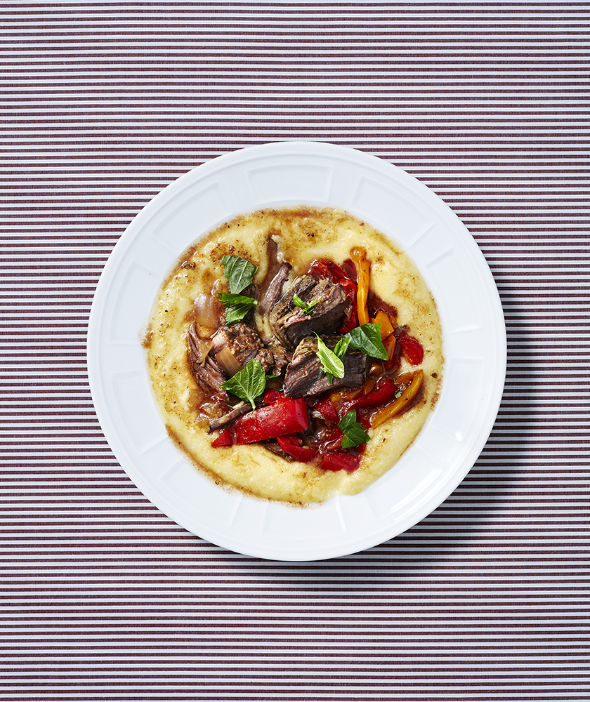 Slow-Cooker Beef and Peppers over Polenta