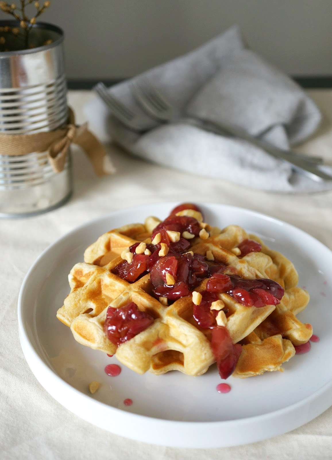 Peanut Butter and Jelly Waffles