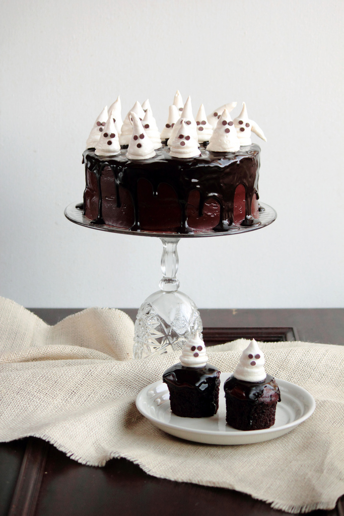Chocolate Fudge Cake with Ghost Meringue