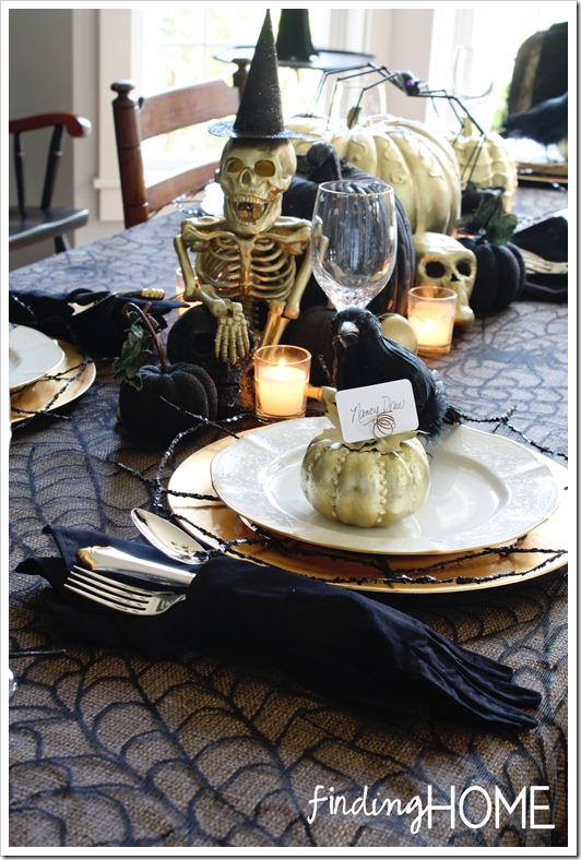 elegantly spooky tablescape - Halloween Table Decorations Ideas