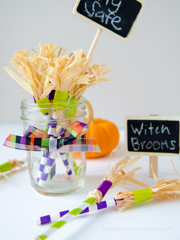 Paper Straw Witch Brooms