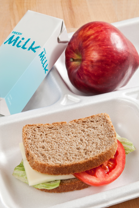 healthy school lunch tray