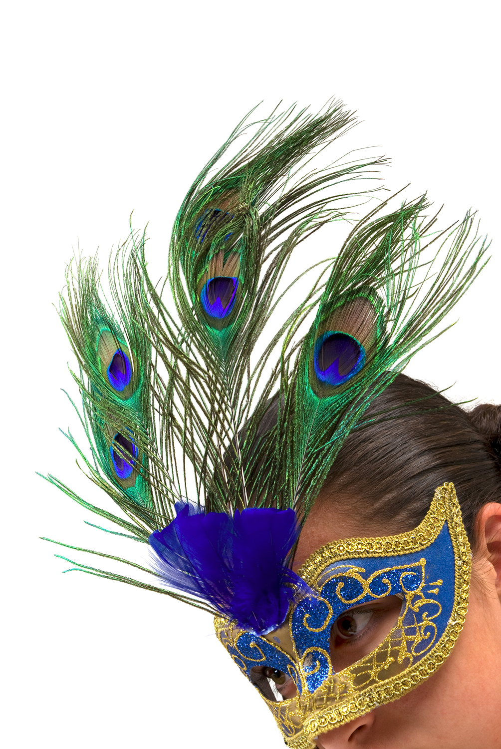 Woman in peacock mask